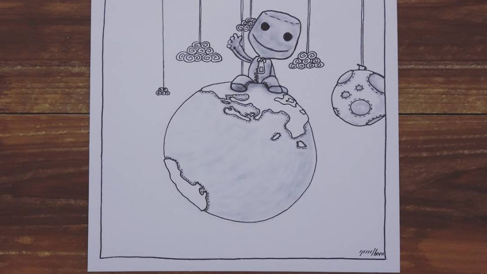 Inktober, jour 19/31 : Sackboy (Little Big Planet) - cloud (nuage)