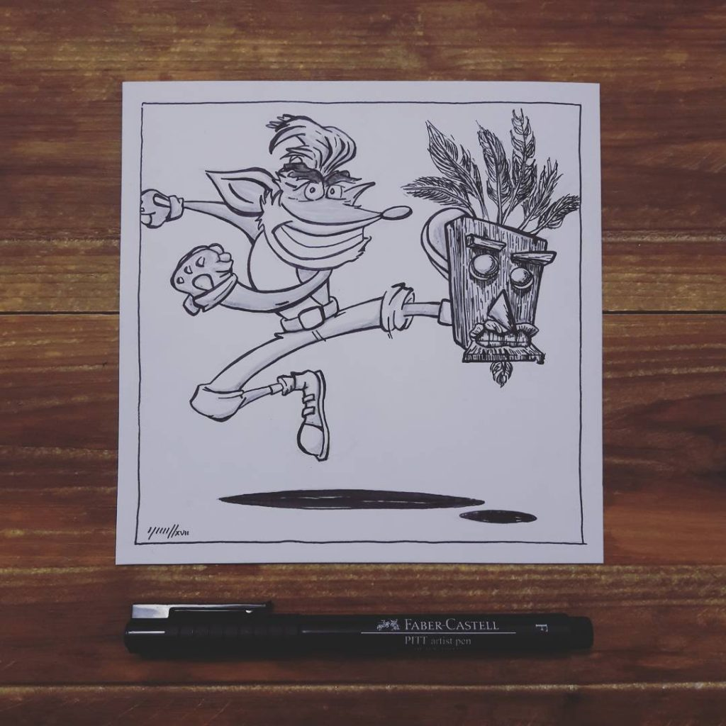 Inktober, jour 31/31 : Crash Bandicoot - mask (masque)